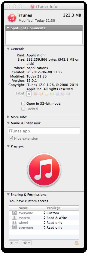 iTunes Info